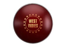 Red Cricket Ball. A side view of red cricket ball with a gold foil branding area and the country name of west indies on an isolated background - 3D render royalty free illustration