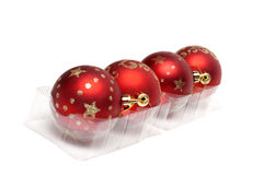 Red cristmas balls in row Royalty Free Stock Photo