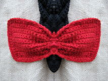 Red crochet bow Royalty Free Stock Photography
