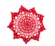 Red crochet doily Stock Images