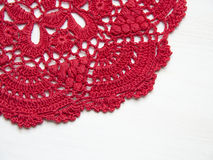 Red crochet doily Royalty Free Stock Photography