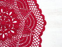 Red crochet doily. On white Royalty Free Stock Photography