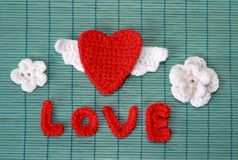Red crocheted heart Royalty Free Stock Photography