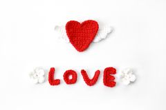 Red crocheted heart Royalty Free Stock Photo