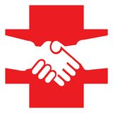 Red cross. Isolated line art work Stock Image