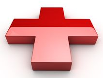 Red Cross. A Red 3d cross over white background Royalty Free Stock Images