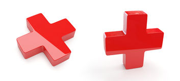 Red Cross. 3d render of two isolated red crosses stock illustration
