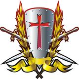 Red cross. Shield with crossing swords, yellow ribbon and red cross vector illustration
