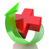 Red cross and arrow. At registration-related information medicine Stock Photo