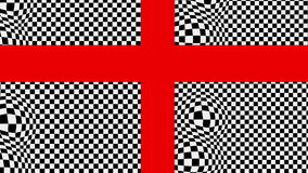 The red cross on the black and white basis with effect bulge. Animation-The red cross on the black and white basis with effect bulge vector illustration
