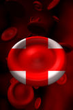 Red cross blood cell. 3d abstract blood red cells donate red cross Royalty Free Stock Photo