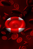 Red cross blood cell. 3d abstract blood red cells donate red cross Royalty Free Stock Photography