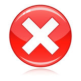 Red cross button - refuse, wrong answer, cancel Royalty Free Stock Photography