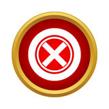 Red cross, check mark icon, simple style Royalty Free Stock Images