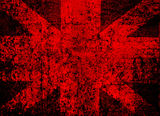 Red cross cracked wall background stock image