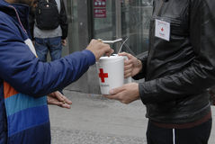 RED CROSS DONATION COLLECTION DAY Stock Photo