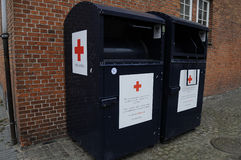 RED CROSS DONATION CONATIAN CONTAINERS Royalty Free Stock Photography