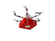 Red cross drone royalty free illustration