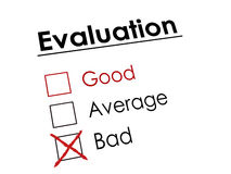 Red cross on evaluation check box Royalty Free Stock Photo