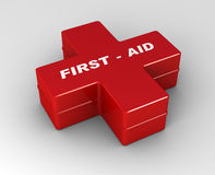 Red cross first aid case. Illustration of red cross first aid case 3d background Stock Photography