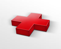 Red cross (first aid sign). 3d red cross isolated on white Stock Photo