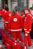 Red cross first aid team Royalty Free Stock Photo