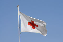 Red Cross flag Stock Photo