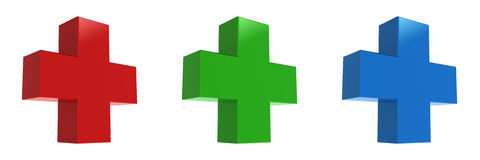 Red cross, green cross, Blue cross Stock Photo