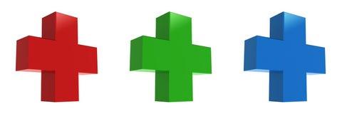 Red cross, green cross, Blue cross. 3d render of medical crosses Stock Photo