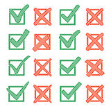 Red cross X and green hook V with hatching, in checkbox. Yes No icons for highlight selection. Vector set Royalty Free Stock Photography