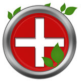 Red Cross Green Leaves Stock Images