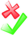 Red Cross and Green Tick Stock Image