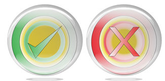 A Red cross and green  tick as true and false icon. Stock Images