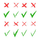 Red cross and green tick vector set. Yes and No icons for websites and applications. Right and Wrong signs isolated on Stock Photos