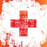 Red cross in grunge style, medical sign, web icon vector illustration