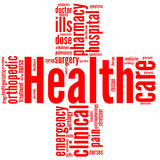 Red cross - Health and wellbeing tag or word cloud. Good health and wellbeing tag or word cloud red cross shaped Royalty Free Stock Photo