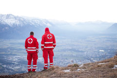 Red Cross helper in the Mountain Stock Images