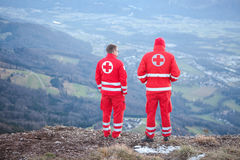 Red Cross helper in the Mountain Stock Photos
