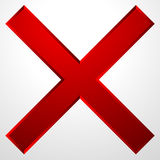 Red cross icon with bevel effect. Delete, remove icon, sign. Stock Photos