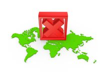 Red cross mark on a map. Stock Images