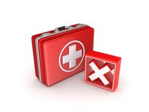 Red cross mark on a medical suitcase. Royalty Free Stock Photography