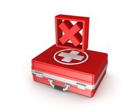 Red cross mark on a medical suitcase. Stock Photos
