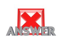 Red cross mark and word ANSWER. Stock Photo