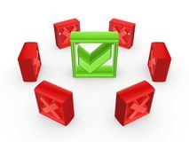 Red cross marks around green tick mark. Stock Photo