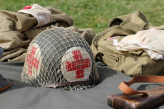 Red cross military helmet Stock Photos