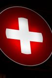 Red cross at night Royalty Free Stock Photo