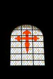 The Red Cross of the Patron Saint of Galicia. Logrono is situated on the Way of St. James, a pilgrimage route to Santiago de Compostela. One of the church Stock Images