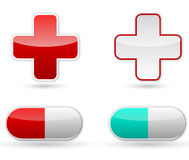 Red cross and pill Stock Photo