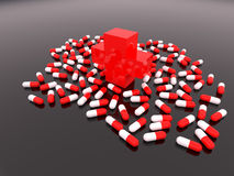 Red cross with scatter tablets Stock Photos