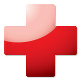 Red cross shadow. Red cross icon with drop shadow and light reflection Royalty Free Stock Photo